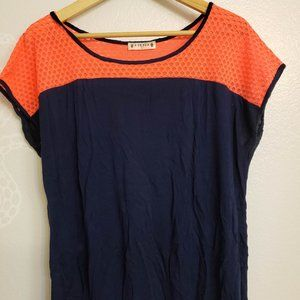 Coral and Navy Blue top
